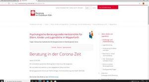 Website: beratung-in-wipperfuerth.de der Psychologischen Beratungsstelle in Wipperfürth