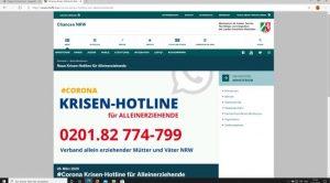 Website: mkffi.nrw des Ministeriums für Familien in NRW mit der Corona-Krisen-Hotline für Alleinerziehende