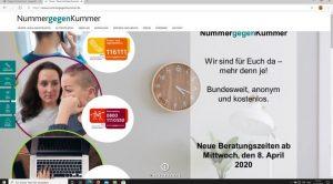 Website: nummergegenkummer.de zur Beratung von Kindern und Jugendlichen