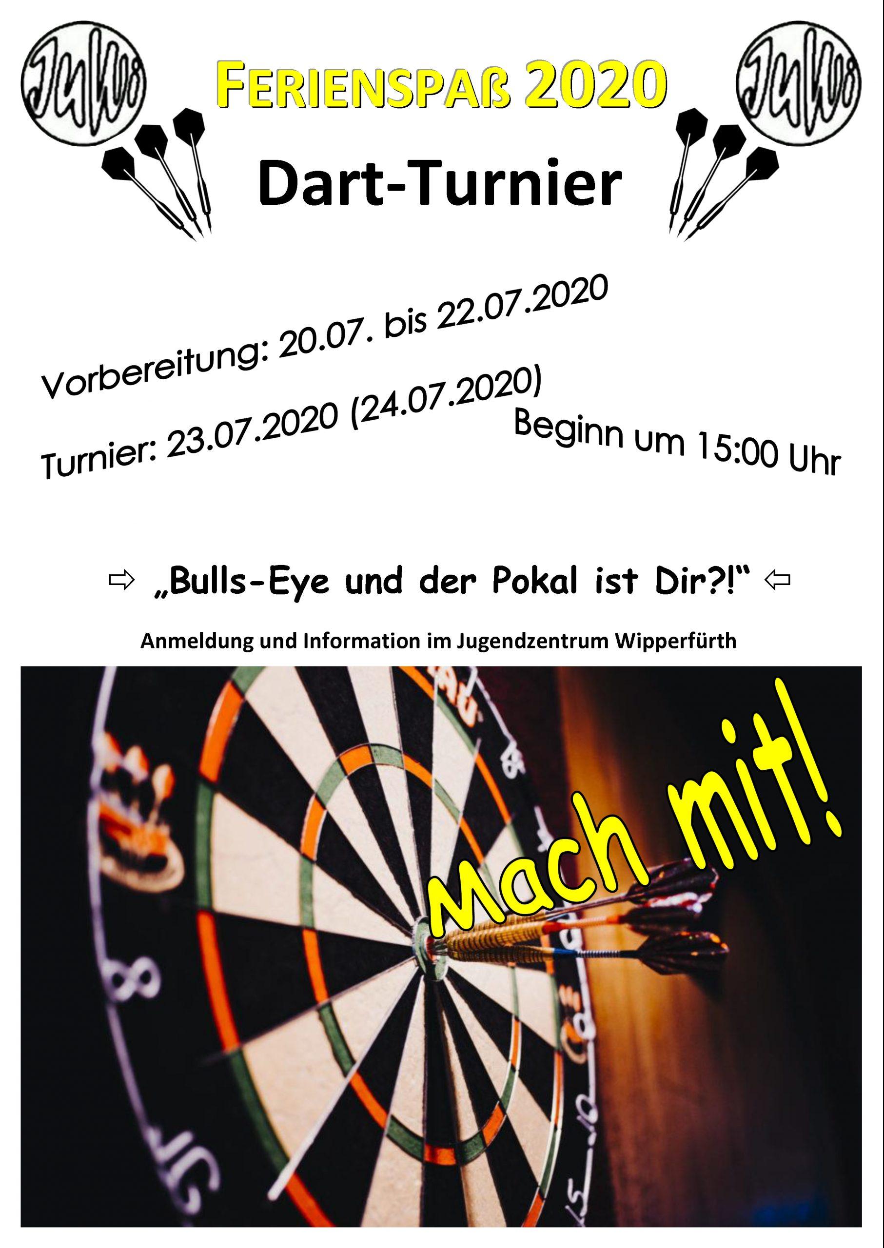 Dart-Turnier im JuWi. Am Donnerstag, dem 23. Juli 2020