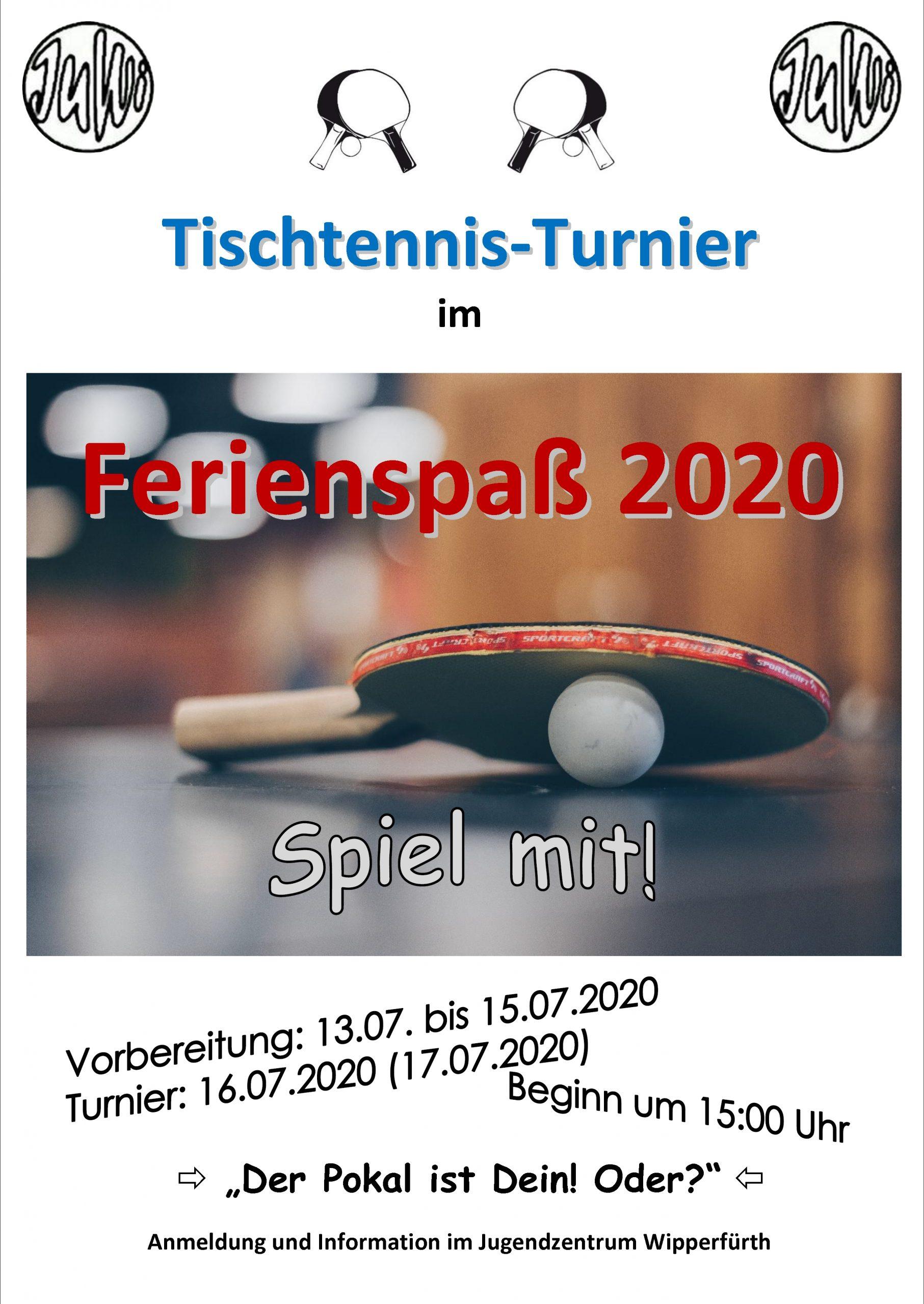 Tisch-Tennis: Ein Turnier im Jugendzentrum. Am Donnerstag, 16. Juli.